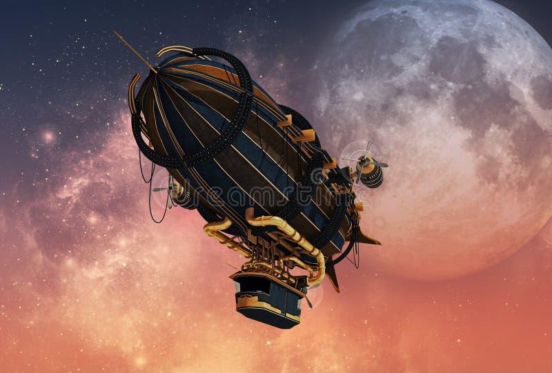 Dirigível de Steampunk, 3d CG ilustração royalty free