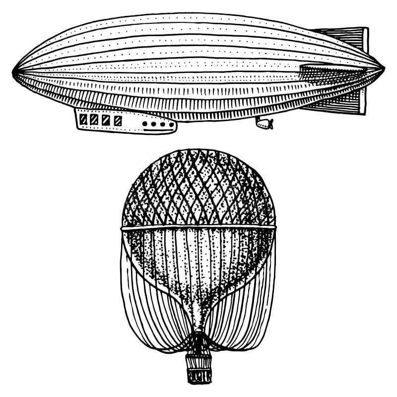Dirigível ou zepelim e dirigible ou dirigível, balão de ar ou ilustração do aerostat Para o curso mão gravada tirada em velho ilustração royalty free