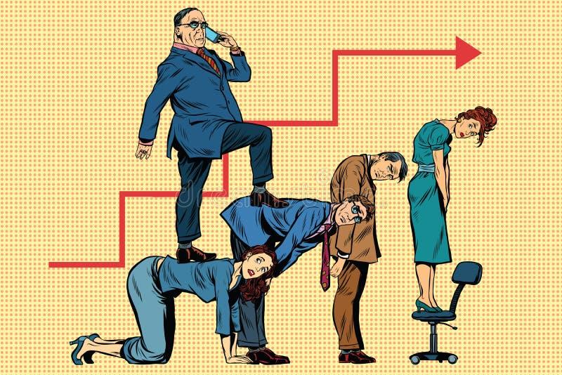 Diriga la carriera di affari sulle parti posteriori dei lavoratori royalty illustrazione gratis