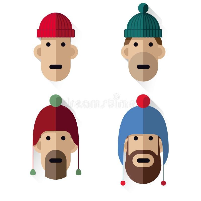 Dirige a hombres de los iconos con los sombreros de las lanas stock de ilustración