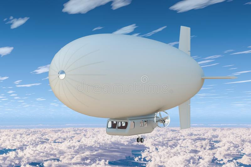 Dirigeable ou dirigeable dans le ciel bleu au-dessus des nuages rendu 3d illustration de vecteur