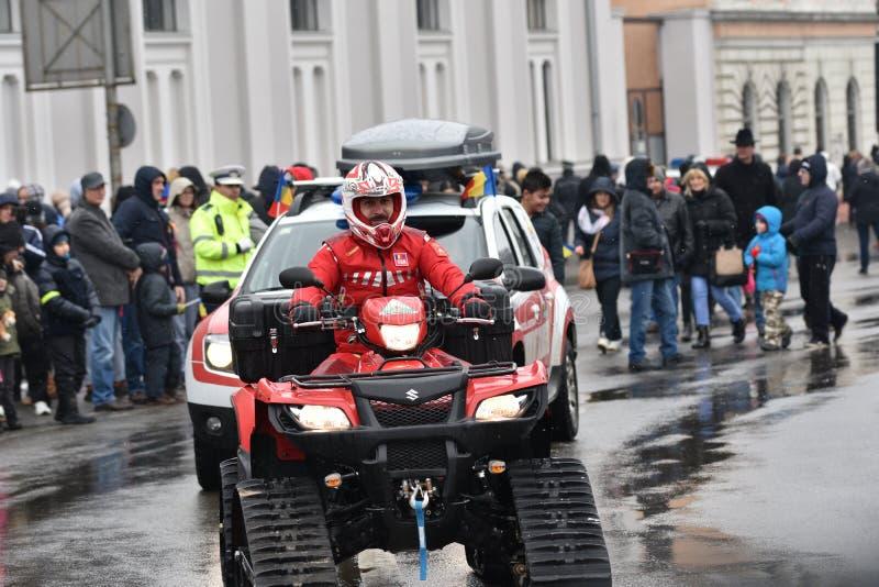 Dirigeant de délivrance de montagne sur un ATV à un événement national photo libre de droits