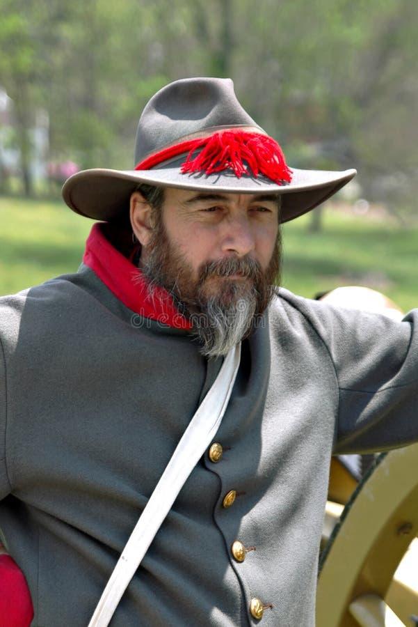"""Dirigeant de rebelle de Reenactor à l'""""Battle du  de Liberty†- Bedford, la Virginie image libre de droits"""