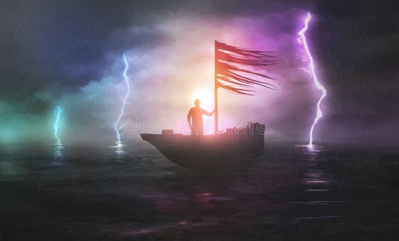 Dirigendosi nella tempesta illustrazione di stock