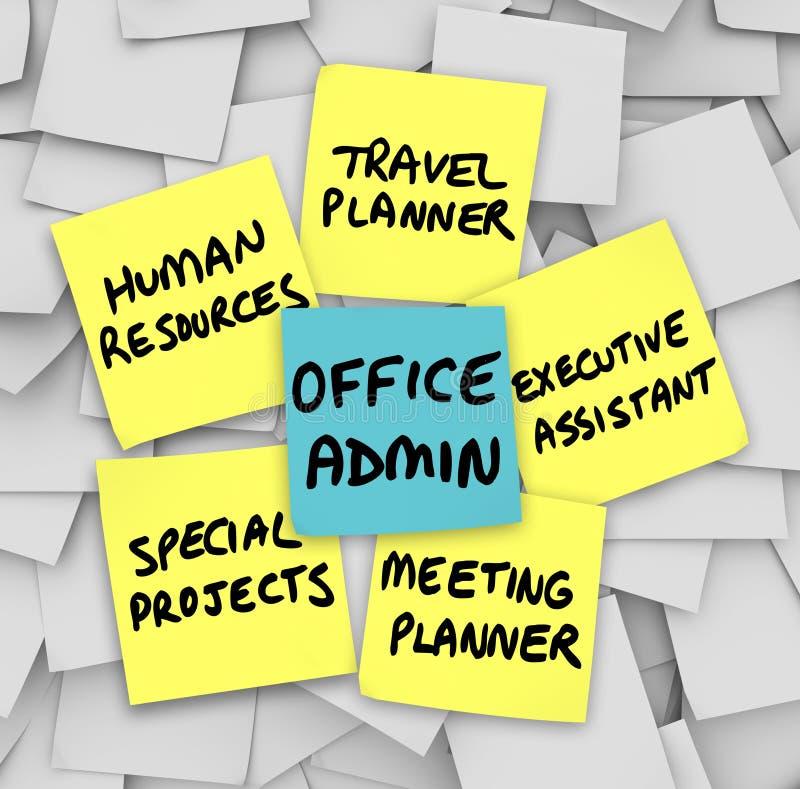 Dirigente di Job Duties Meeting Travel Planner dell'amministratore di ufficio illustrazione vettoriale