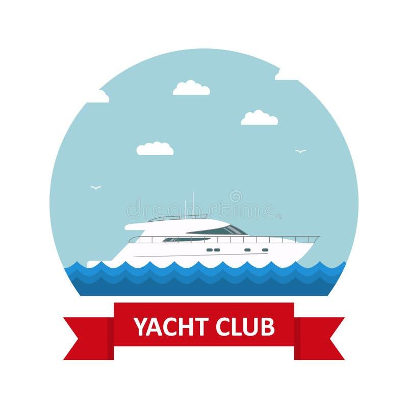 Dirigez à plat une icône avec le texte et le club de yacht illustration de vecteur