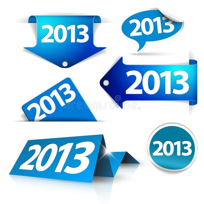 Dirigez 2013 étiquettes, collants, flèches indicatrices, étiquettes illustration stock