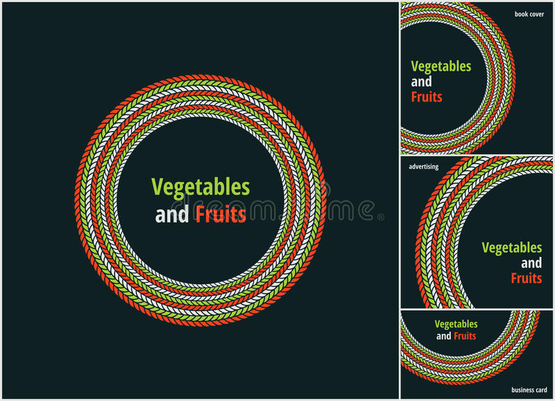 Dirigez autour de l'eco, le bio logo ou le signe vert et rouge Vegan, végétarien, insigne sain de nourriture, étiquette, restaura illustration libre de droits