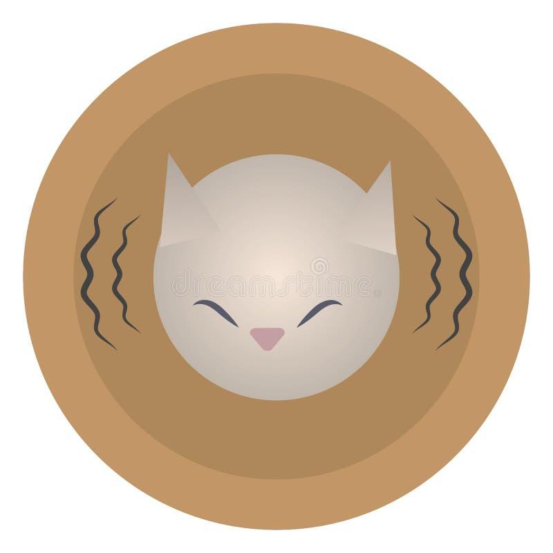 Dirigez autour de la tête orange d'icône d'icône d'un chat peint triste de blanc gris avec des lignes de vibration saine d'isolem illustration stock