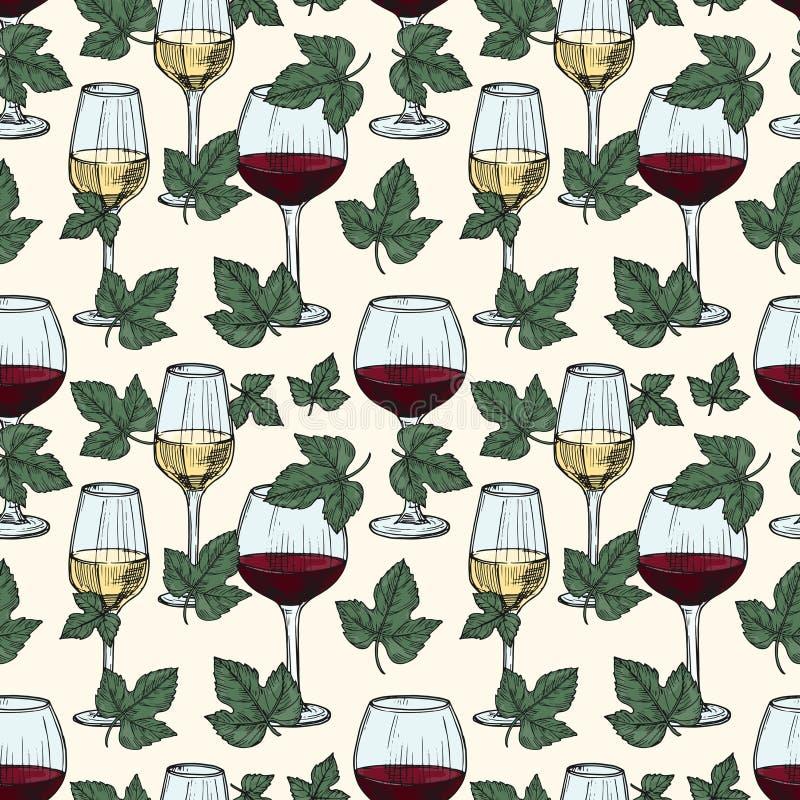 Dirigez blanc et le vin rouge, vigne part du modèle sans couture illustration de vecteur
