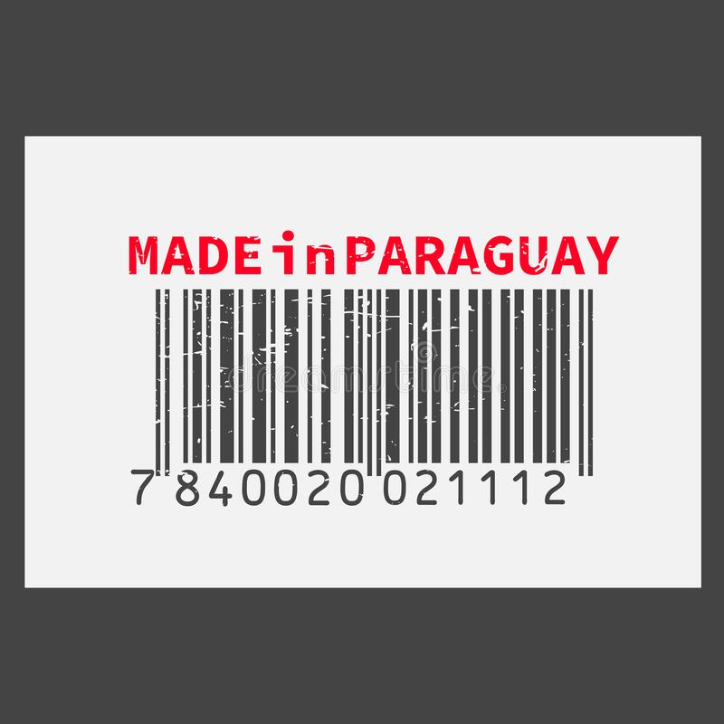 Dirigez code barres réaliste fabriqué au Paraguay sur le fond foncé illustration de vecteur