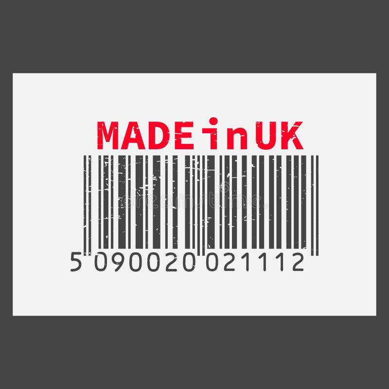 Dirigez code barres réaliste fabriqué au R-U sur le fond foncé illustration stock