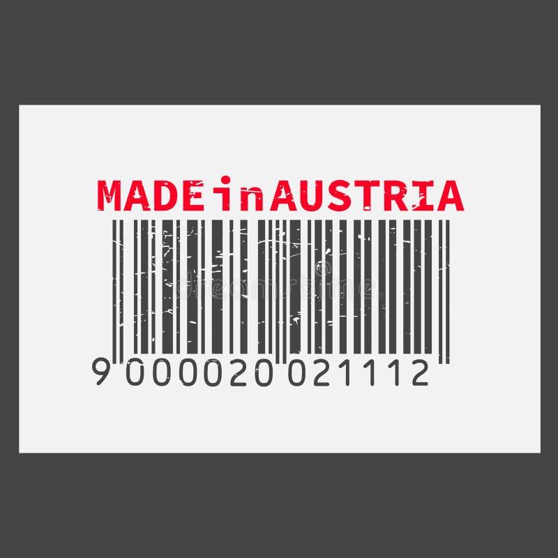 Dirigez code barres réaliste fabriqué en Autriche sur le fond foncé illustration stock