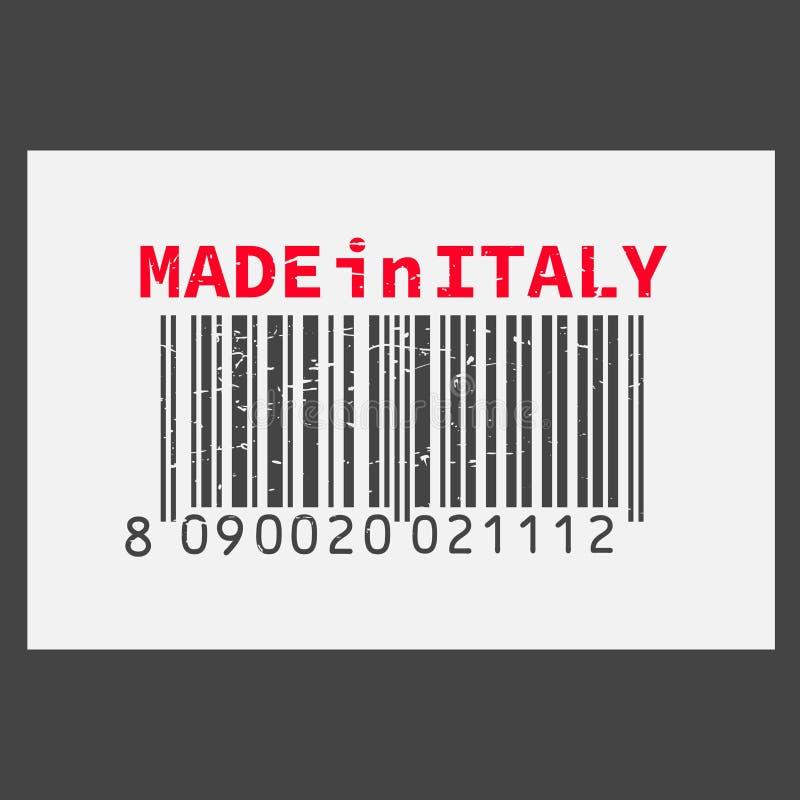 Dirigez code barres réaliste fabriqué en Italie sur le fond foncé illustration stock