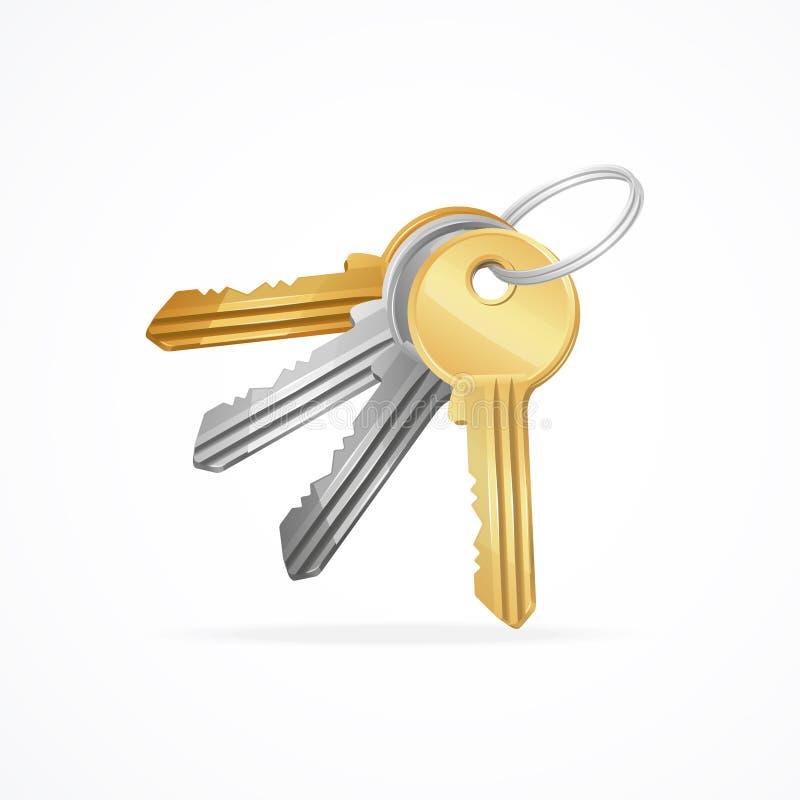 Dirigez d'or, argenté, en bronze, groupe de clés en métal illustration libre de droits