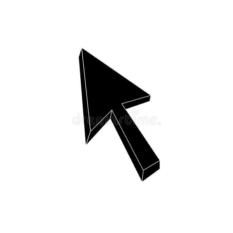 Dirigez 3D la flèche, icône d'indicateur, illustration noire et blanche illustration stock