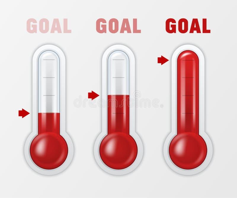 Dirigez 3d la météorologie en verre réaliste, plan rapproché réglé d'icône de signe d'échelle de thermomètre de temps d'isolement illustration stock