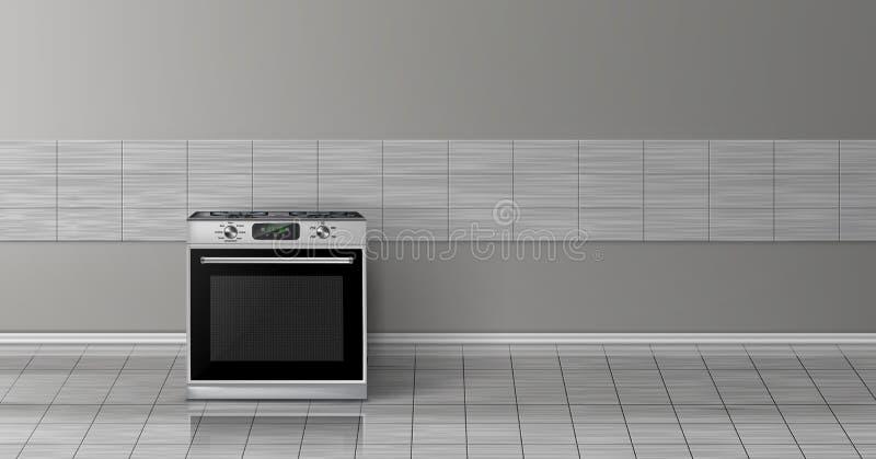 Dirigez 3d la maquette réaliste - fourneau dans la cuisine illustration de vecteur