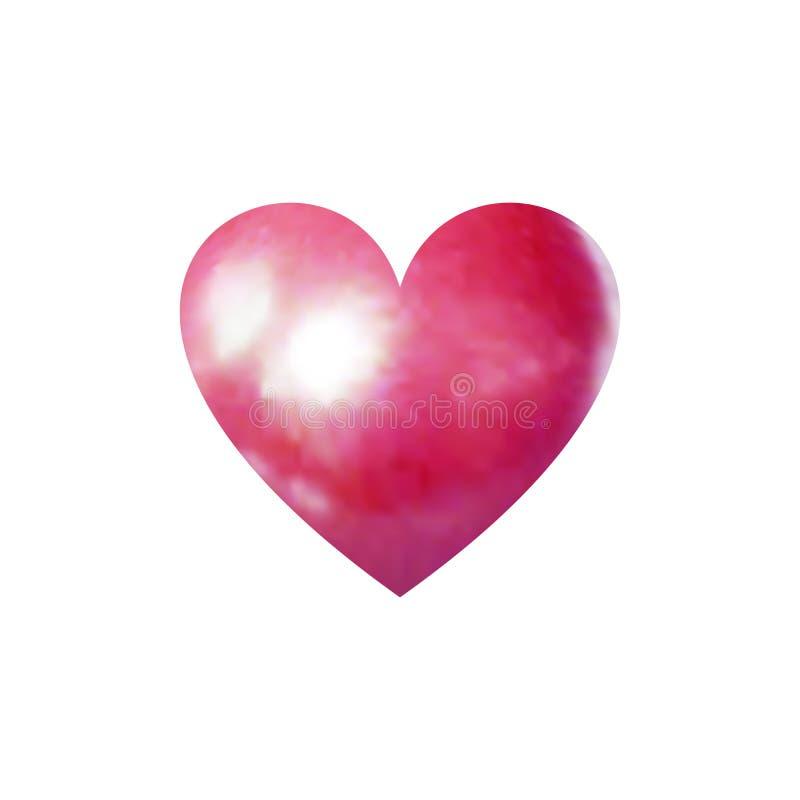 Dirigez 3D le coeur nacré, symbole rose lumineux d'amour d'isolement illustration libre de droits