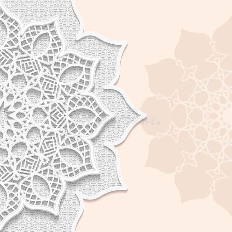 Dirigez 3D le fond, modèle de fête gravant en refief, carte de papier d'alace, décoration arabe illustration stock