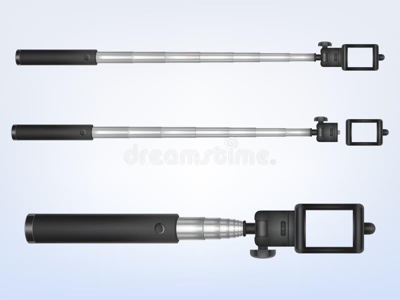 Dirigez 3d le monopod réaliste, selfiestick pour l'appareil-photo illustration stock