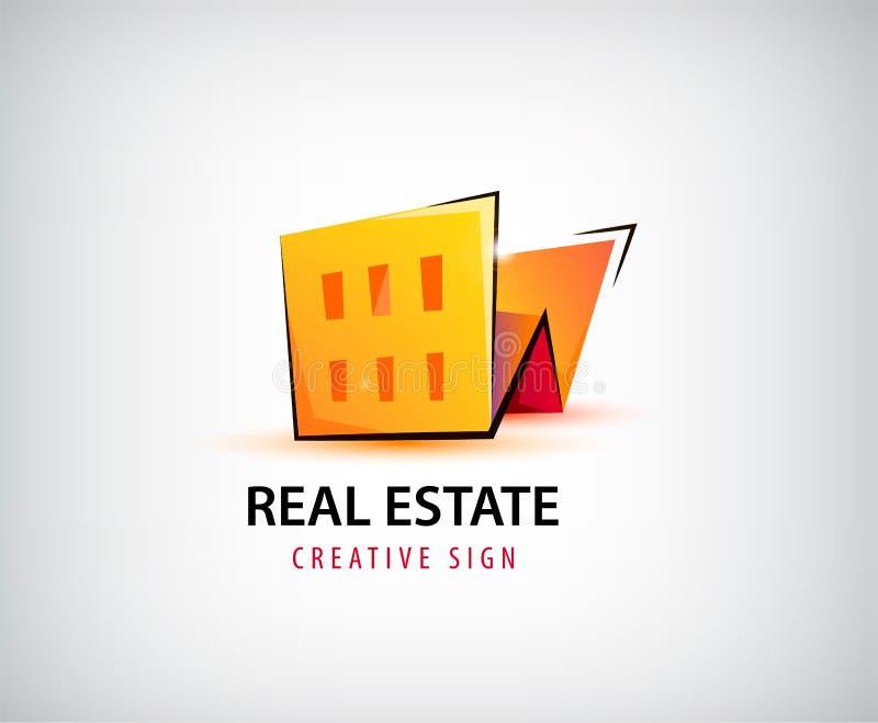 Dirigez 3d les immobiliers, bâtiment, logo de maison d'isolement illustration libre de droits