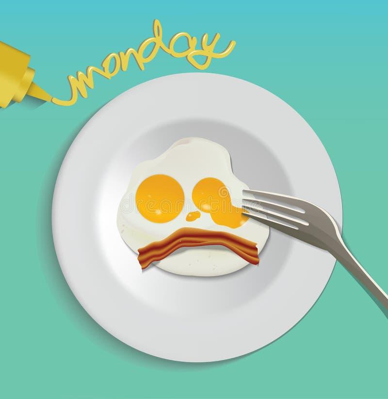 Dirigez Fried Egg du plat blanc, oeuf au plat avec le mot de lundi illustration libre de droits