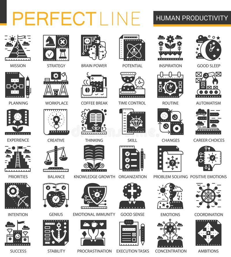 Dirigez icônes noires classiques de concept de productivité humaine les mini et l'ensemble de symboles infographic illustration stock