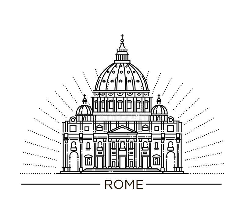 Dirigez illustration au trait de basilique du ` s de St Peter, Rome, Italie illustration stock