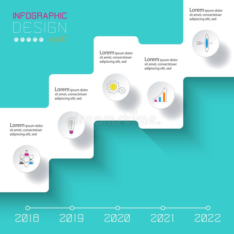 Dirigez Infographics sur la ligne de temps ou le processus d'étapes illustration de vecteur