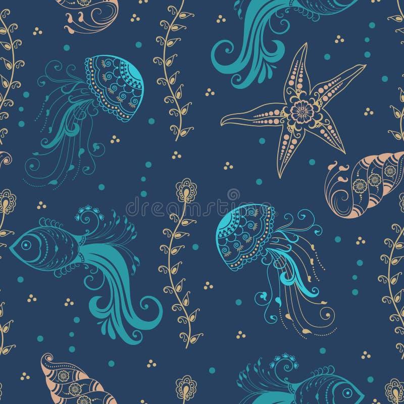 Dirigez l'élément abstrait de modèle avec les créatures marines dans le style indien de mehndi Illustration florale de vecteur de illustration stock