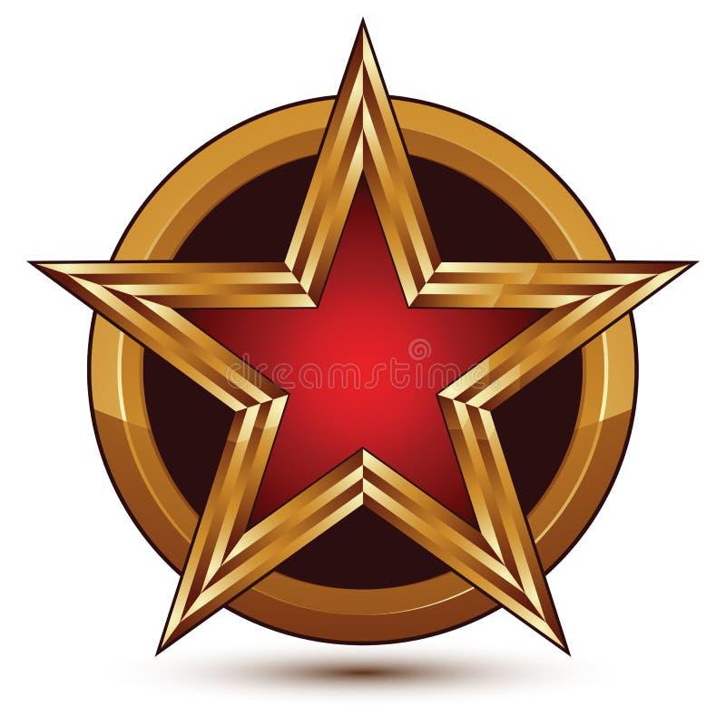 Dirigez l'élément brillant glorieux de conception, étoile rouge du luxe 3d illustration stock