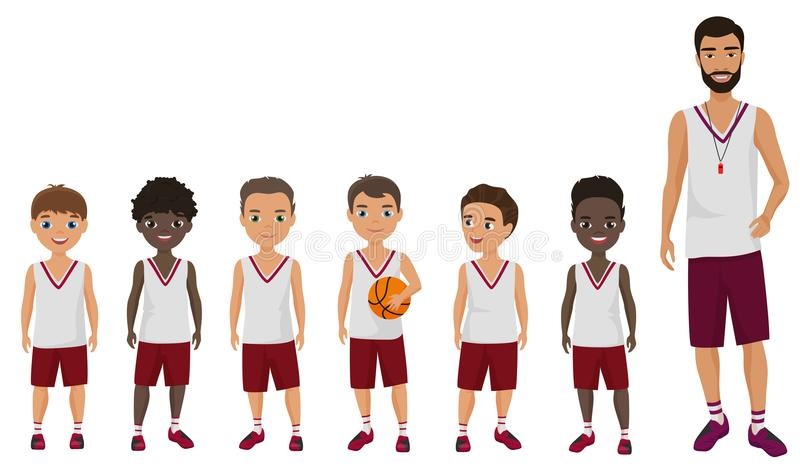 Dirigez l'équipe plate d'enfants de basket-ball d'écoliers de bande dessinée se tenant avec leur entraîneur d'entraîneur illustration de vecteur