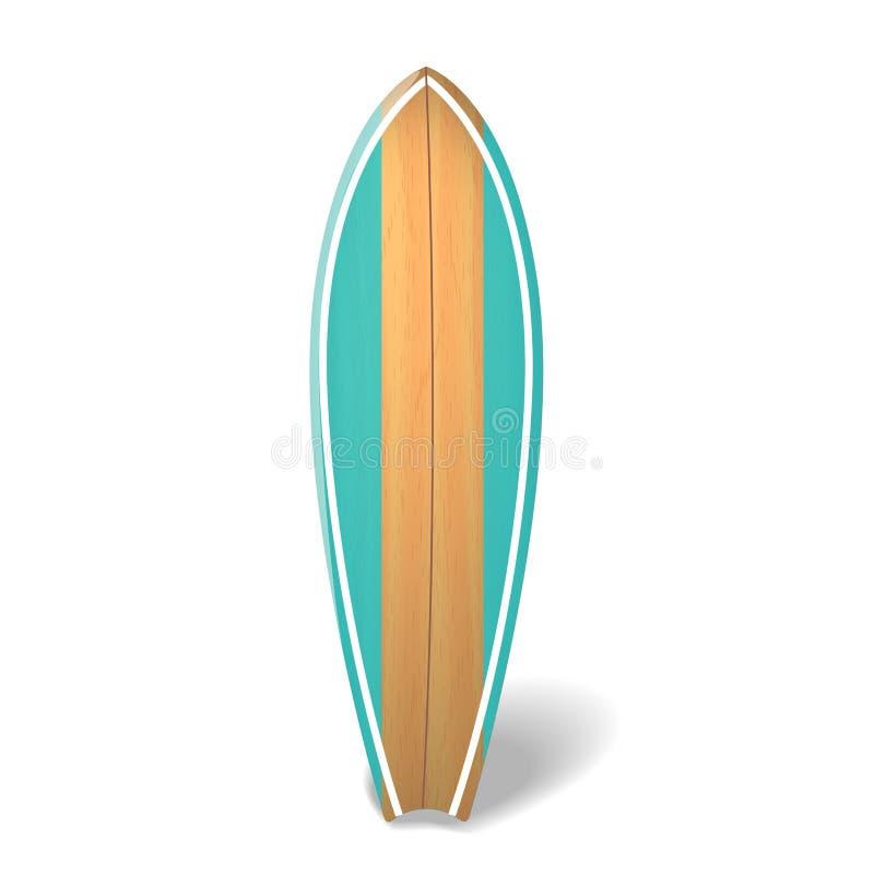 Dirigez l'été en bois de panneau de ressac surfant la planche de surf réaliste illustration stock