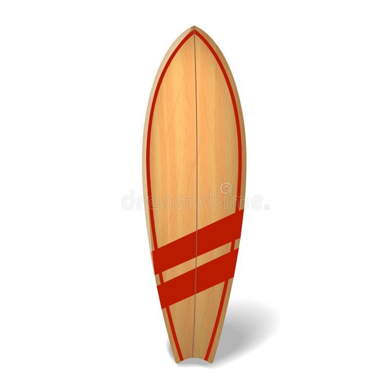 Dirigez l'été en bois de panneau de ressac surfant la planche de surf réaliste d'isolement illustration stock