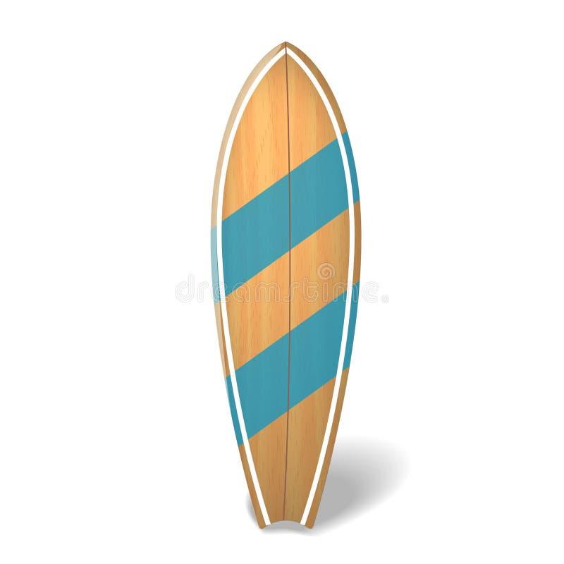 Dirigez l'été en bois de panneau de ressac surfant la planche de surf réaliste d'isolement illustration de vecteur