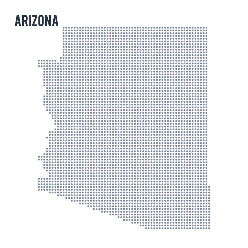 Dirigez l'état de carte de l'Arizona pointillé a isolé sur le fond blanc illustration stock