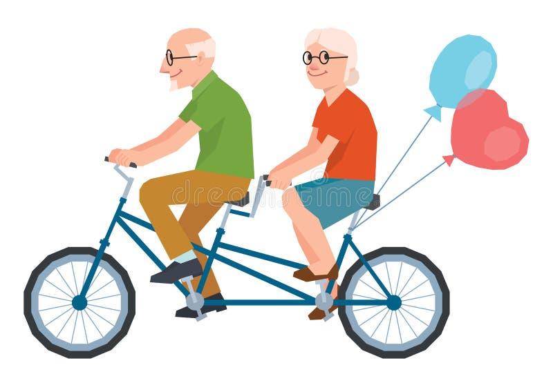 Dirigez l'aîné a marié un couple affectueux montant un vélo tandem illustration stock