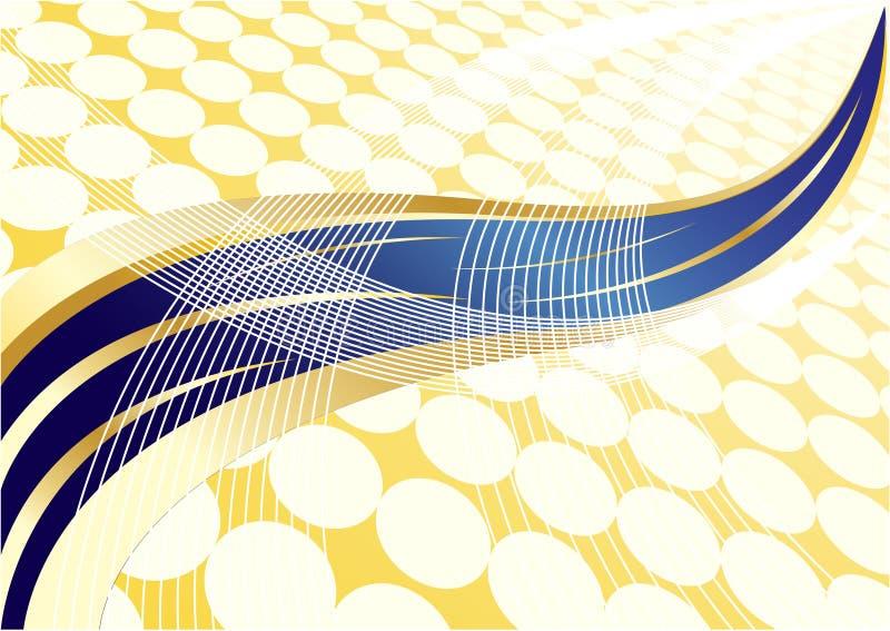 Dirigez l'or abstrait et le fond bleu avec le point illustration de vecteur