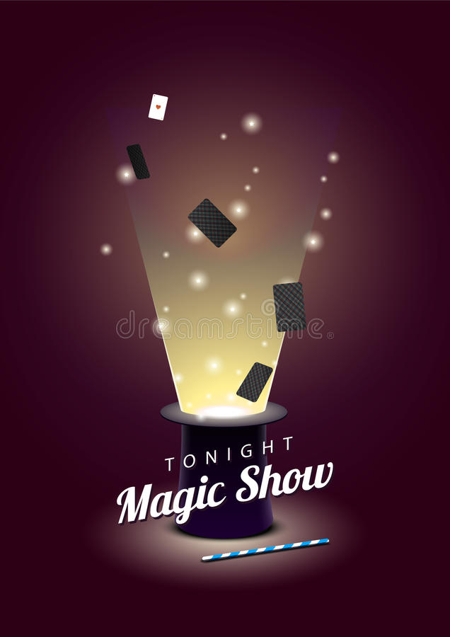 Dirigez l'affiche avec le chapeau de magicien avec les cartes de vol et la baguette magique magique illustration libre de droits