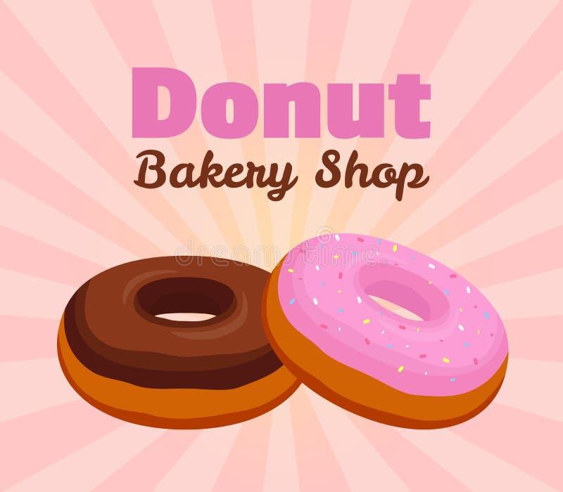 Dirigez l'affiche de beignet, bannière avec le lustre rose, pâtisserie de chocolat pour faire de la publicité de la boutique de b illustration libre de droits