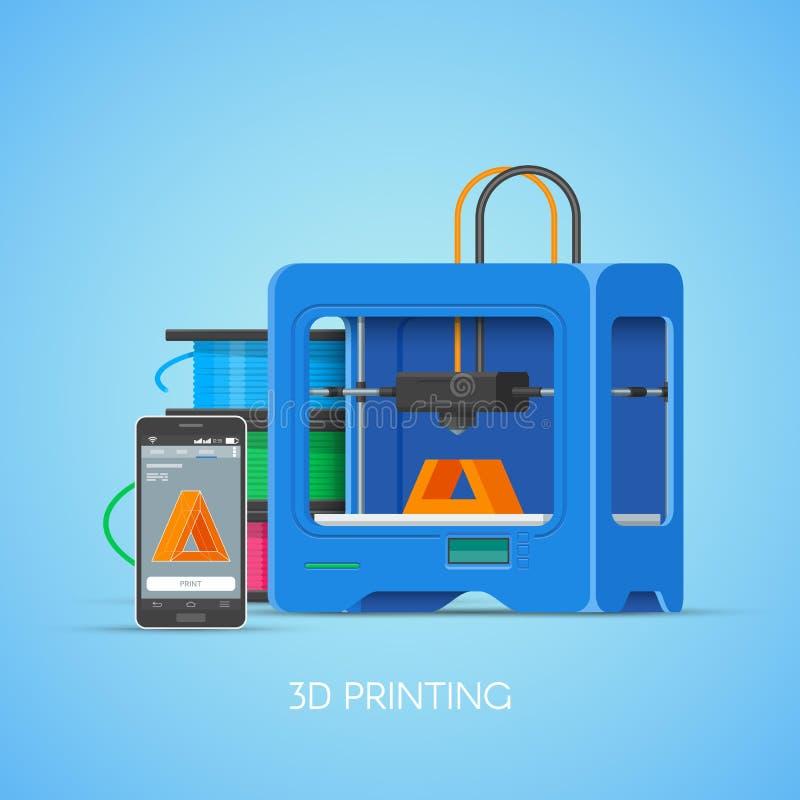 Dirigez l'affiche de concept du printin 3D dans le style plat Objets industriels d'impression d'imprimante de smartphone illustration de vecteur
