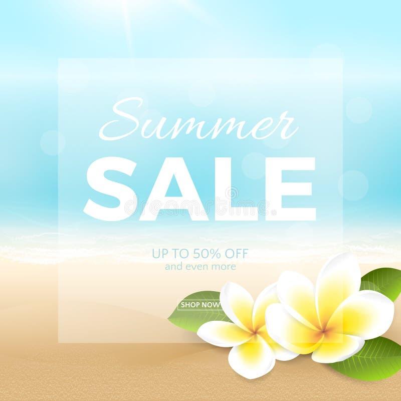 Dirigez l'affiche de vente d'été avec la plage, la mer, les vagues et les fleurs tropicales illustration stock