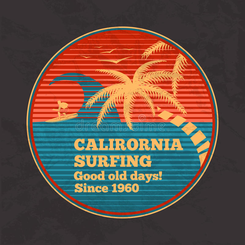 Dirigez l'affiche de vintage - la Californie surfant, bonnes vieilles journées illustration de vecteur