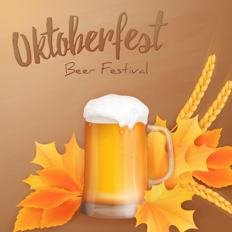 Dirigez l'affiche oktoberfest avec le verre réaliste de bière, les feuilles de jaune et les oreilles du blé illustration libre de droits
