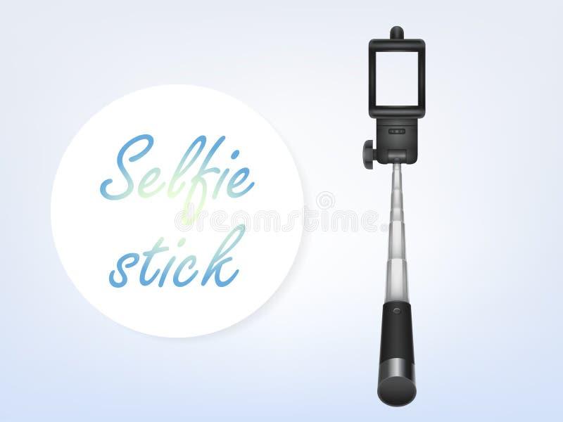 Dirigez l'affiche réaliste d'annonce du selfiestick 3d, bannière illustration stock