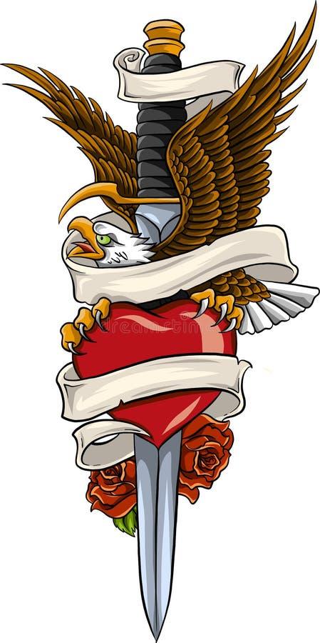 Dirigez l'aigle avec la terre et rose et le ruban illustration libre de droits