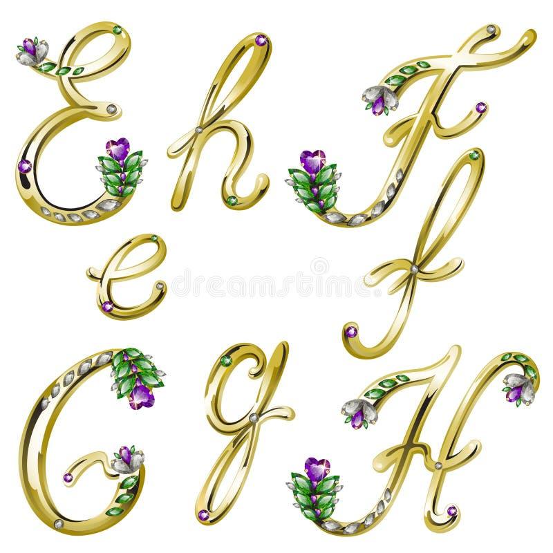 Dirigez l'alphabet d'or avec les lettres E, F, G, H de gemmes illustration stock