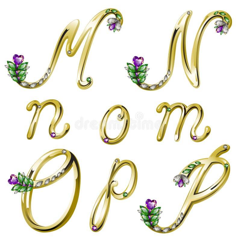 Dirigez l'alphabet d'or avec les lettres M, N, O, P de gemmes illustration libre de droits