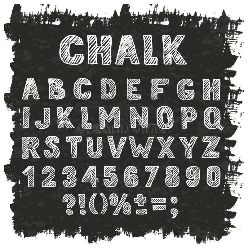 Dirigez l'alphabet, les nombres et les signes tirés par la main de croquis illustration stock